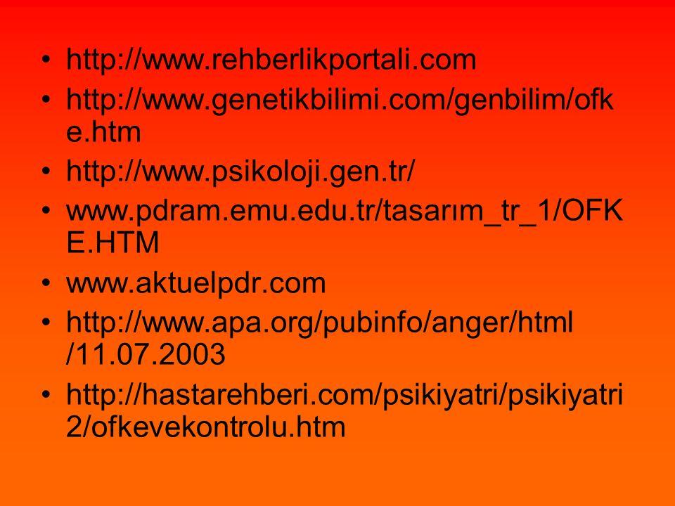 http://www.rehberlikportali.com http://www.genetikbilimi.com/genbilim/ofk e.htm http://www.psikoloji.gen.tr/ www.pdram.emu.edu.tr/tasarım_tr_1/OFK E.H