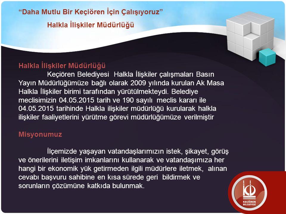 Halkla İlişkiler Müdürlüğü Keçiören Belediyesi Halkla İlişkiler çalışmaları Basın Yayın Müdürlüğümüze bağlı olarak 2009 yılında kurulan Ak Masa Halkla İlişkiler birimi tarafından yürütülmekteydi.