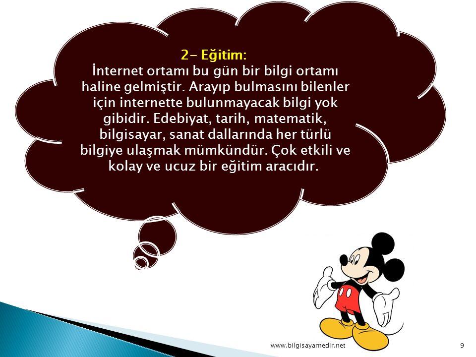 2- Eğitim: İnternet ortamı bu gün bir bilgi ortamı haline gelmiştir.