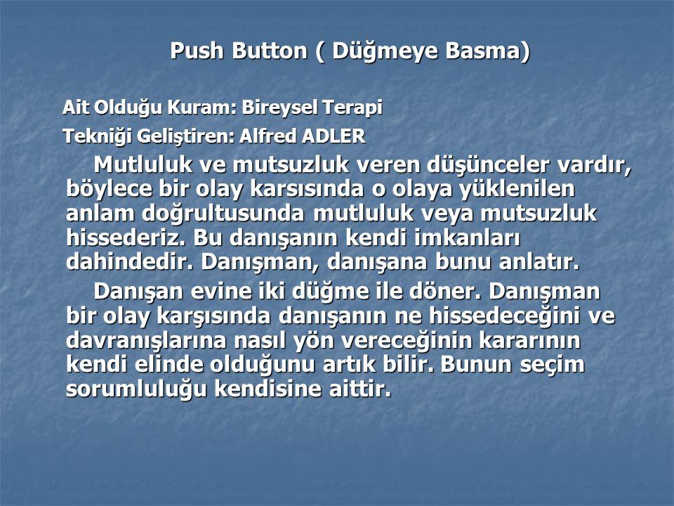 Push Button ( Düğmeye Basma) Push Button ( Düğmeye Basma) Ait Olduğu Kuram: Bireysel Terapi Ait Olduğu Kuram: Bireysel Terapi Tekniği Geliştiren: Alfr