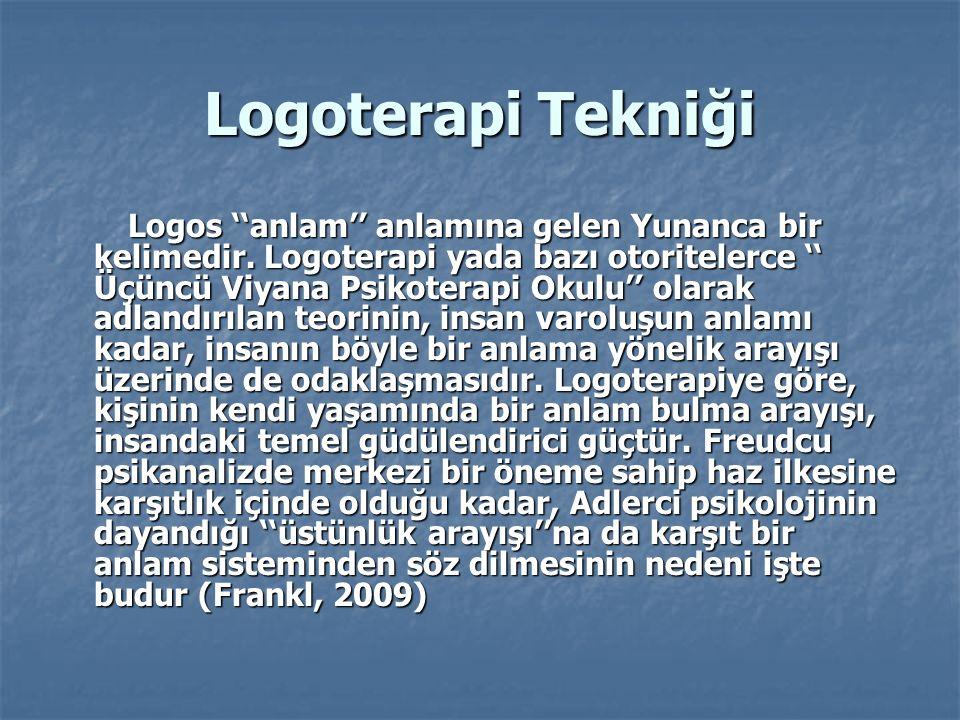 Logoterapi Tekniği Logos ''anlam'' anlamına gelen Yunanca bir kelimedir. Logoterapi yada bazı otoritelerce '' Üçüncü Viyana Psikoterapi Okulu'' olarak
