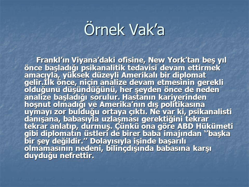 Örnek Vak'a Frankl'ın Viyana'daki ofisine, New York'tan beş yıl önce başladığı psikanalitik tedavisi devam ettirmek amacıyla, yüksek düzeyli Amerikalı