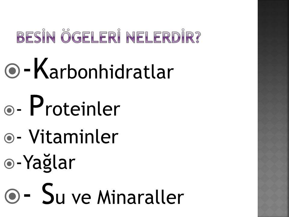  -K arbonhidratlar  - P roteinler  - Vitaminler  -Yağlar  - S u ve Minaraller