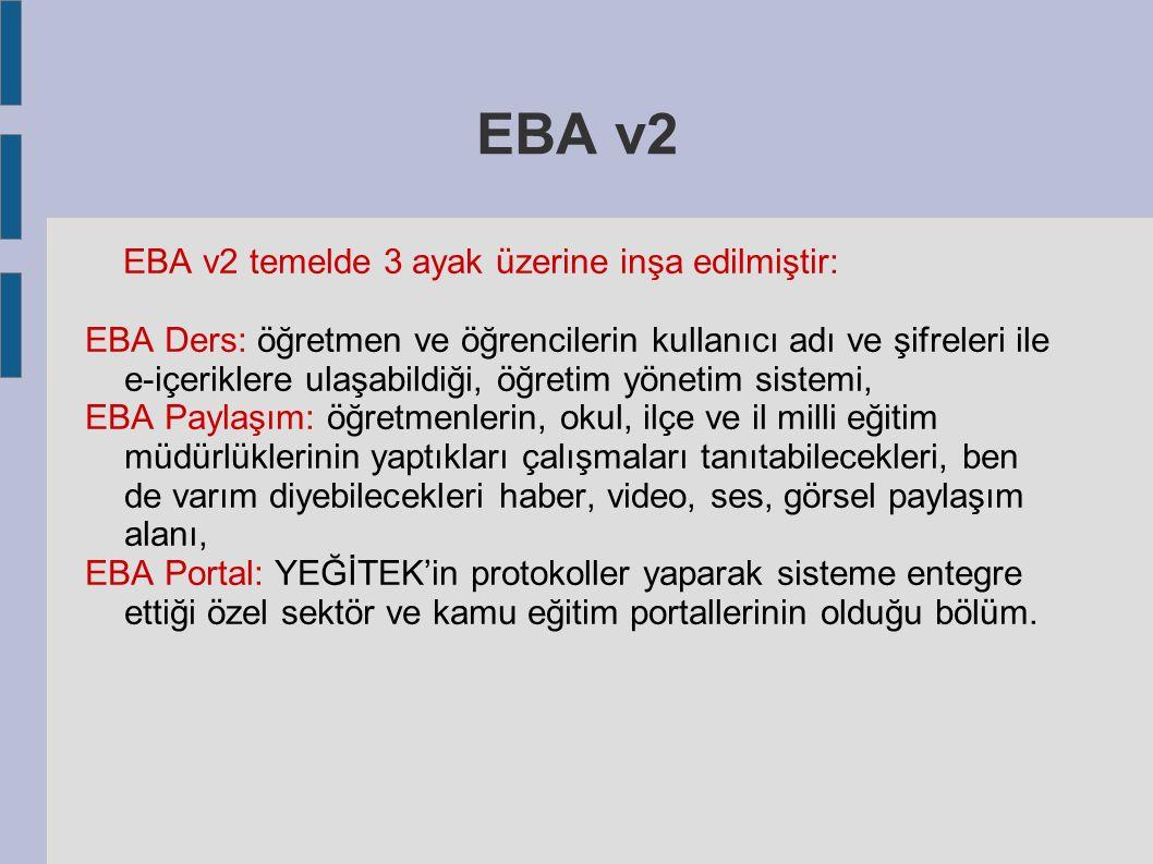 EBA v2 EBA v2 temelde 3 ayak üzerine inşa edilmiştir: EBA Ders: öğretmen ve öğrencilerin kullanıcı adı ve şifreleri ile e-içeriklere ulaşabildiği, öğr