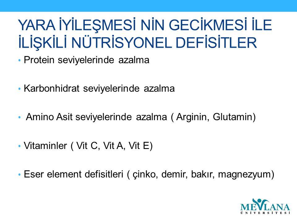 YARA İYİLEŞMESİ NİN GECİKMESİ İLE İLİŞKİLİ NÜTRİSYONEL DEFİSİTLER Protein seviyelerinde azalma Karbonhidrat seviyelerinde azalma Amino Asit seviyelerinde azalma ( Arginin, Glutamin) Vitaminler ( Vit C, Vit A, Vit E) Eser element defisitleri ( çinko, demir, bakır, magnezyum)