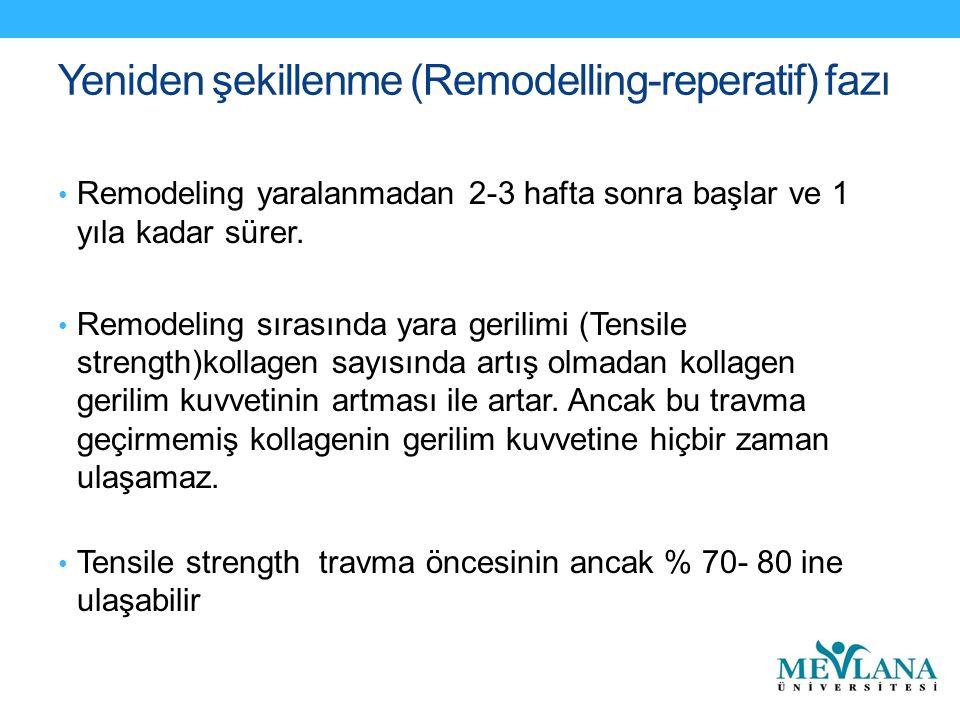 Yeniden şekillenme (Remodelling-reperatif) fazı Remodeling yaralanmadan 2-3 hafta sonra başlar ve 1 yıla kadar sürer.