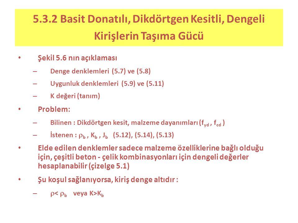 5.3.2 Basit Donatılı, Dikdörtgen Kesitli, Dengeli Kirişlerin Taşıma Gücü Şekil 5.6 nın açıklaması – Denge denklemleri (5.7) ve (5.8) – Uygunluk denklemleri (5.9) ve (5.11) – K değeri (tanım) Problem: – Bilinen : Dikdörtgen kesit, malzeme dayanımları (f yd, f cd ) – İstenen :  b, K b, J b (5.12), (5.14), (5.13) Elde edilen denklemler sadece malzeme özelliklerine bağlı olduğu için, çeşitli beton - çelik kombinasyonları için dengeli değerler hesaplanabilir (çizelge 5.1) Şu koşul sağlanıyorsa, kiriş denge altıdır : –  K b