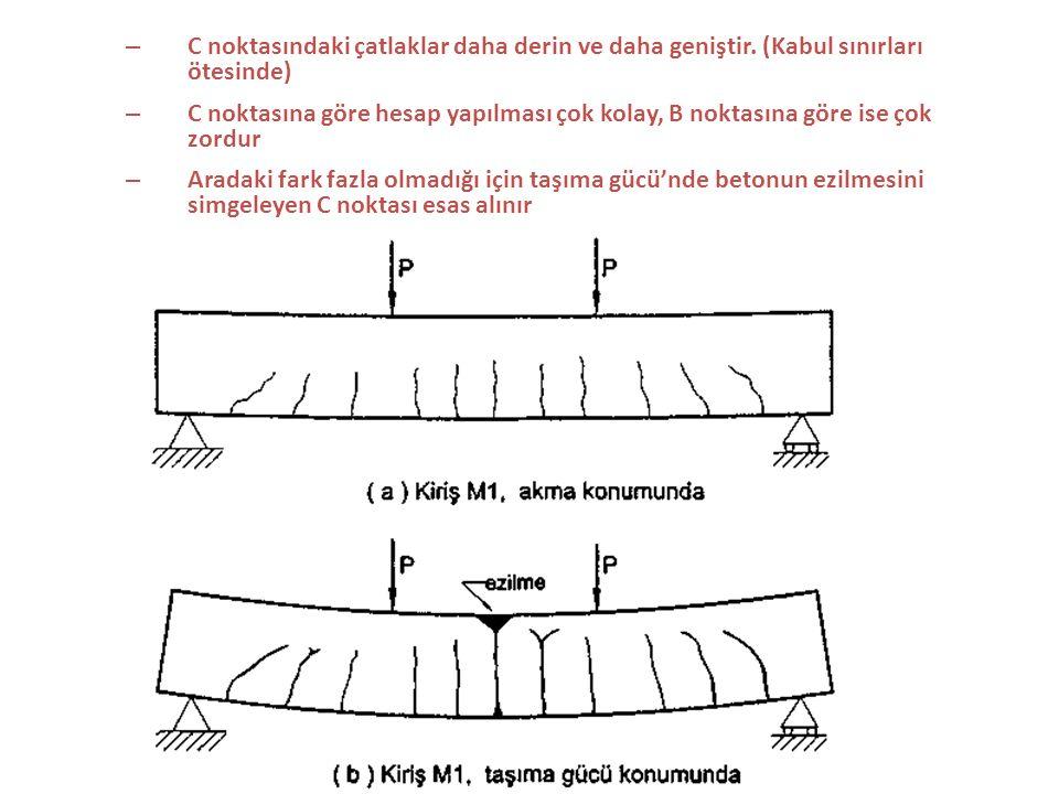 5.3 KESİT TAŞIMA GÜCÜNÜN HESABI (KESİT TAHKİKİ) 5.3.1 Genel Dengeli donatı oranı  b Kırılma türleri : – Çekme kırılması (sünek) Denge altı  <  b – Basınç kırılması (gevrek) Denge üstü  >  b – Dengeli kırılma (gevrek)  =  b Yönetmeliklerde üst sınırlar konarak dengeli ve denge üstü kirişlerin yapılmasına izin verilmez