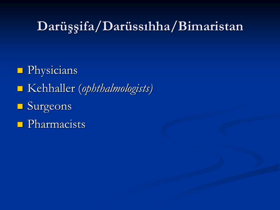 Darüşşifa/Darüssıhha/Bimaristan Physicians Physicians Kehhaller (ophthalmologists) Kehhaller (ophthalmologists) Surgeons Surgeons Pharmacists Pharmacists