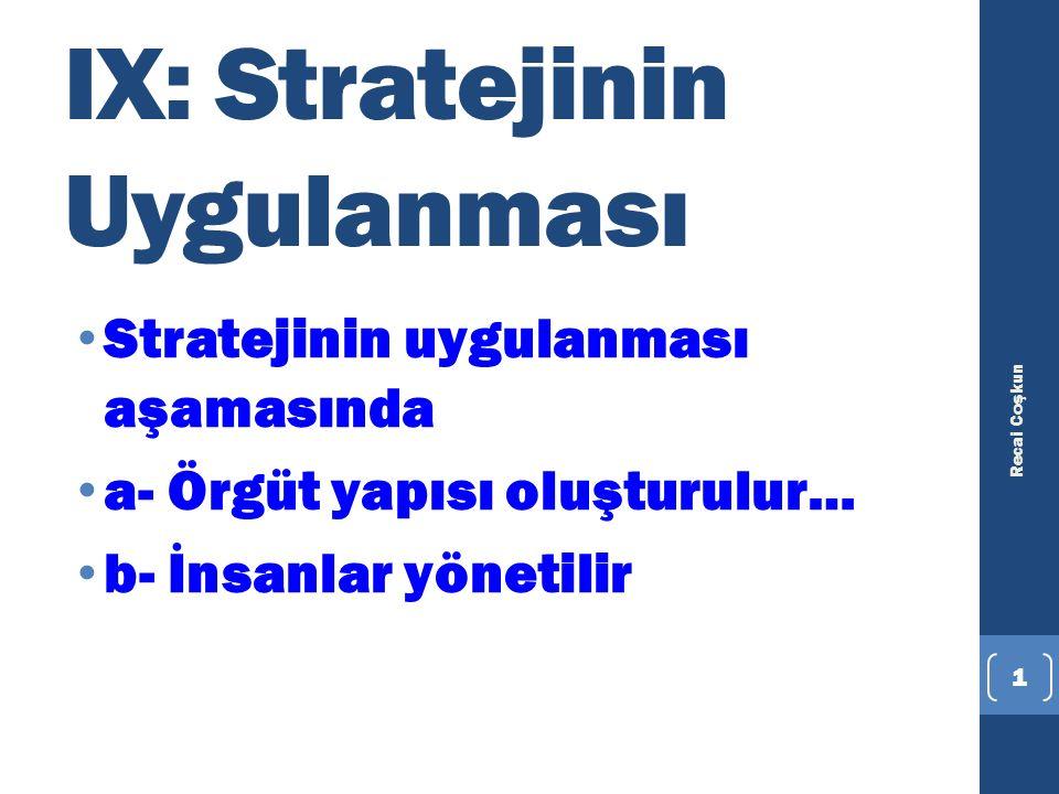 IX: Stratejinin Uygulanması Stratejinin uygulanması aşamasında a- Örgüt yapısı oluşturulur… b- İnsanlar yönetilir Recai Coşkun 1