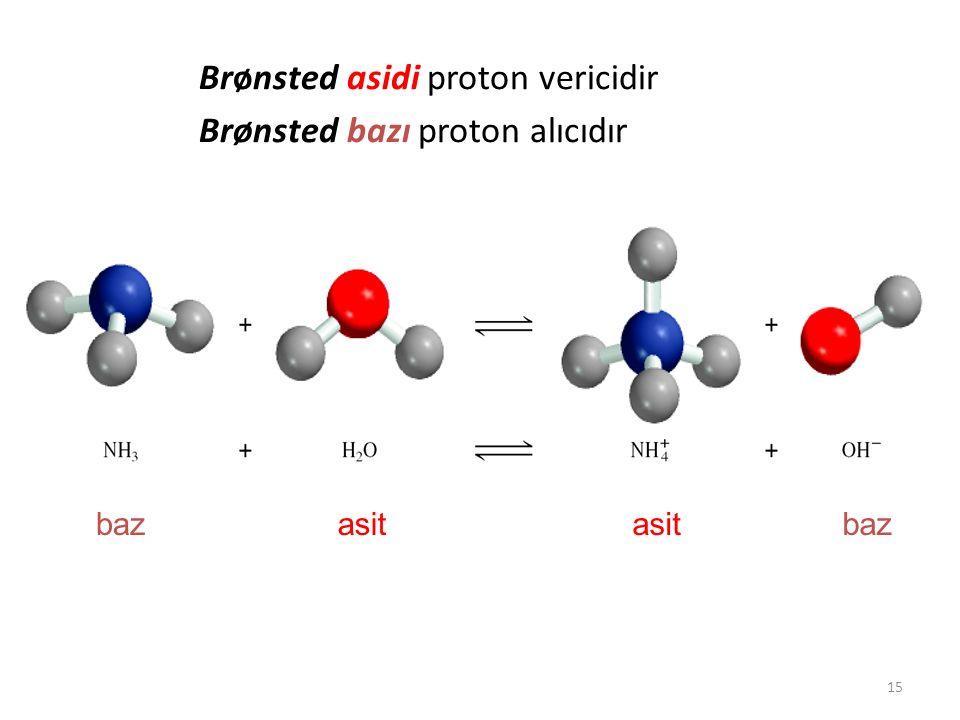 15 Brønsted asidi proton vericidir Brønsted bazı proton alıcıdır asitasitbazasitasit