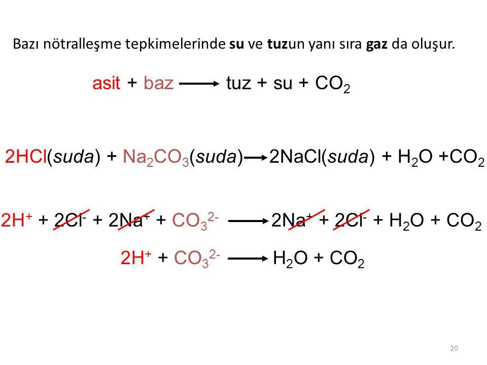 20 Bazı nötralleşme tepkimelerinde su ve tuzun yanı sıra gaz da oluşur. asit + baz tuz + su + CO 2 2HCl(suda) + Na 2 CO 3 (suda) 2NaCl(suda) + H 2 O +