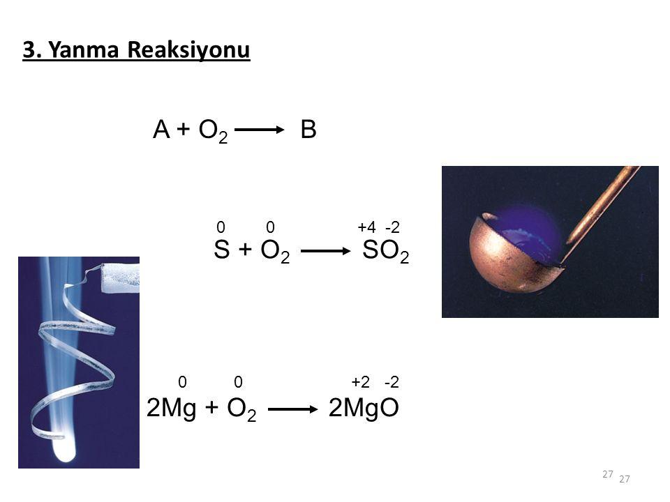 27 3. Yanma Reaksiyonu A + O 2 B S + O 2 SO 2 00 +4-2 2Mg + O 2 2MgO 00 +2-2