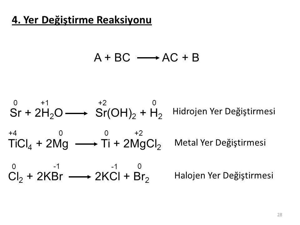 28 4. Yer Değiştirme Reaksiyonu A + BC AC + B Sr + 2H 2 O Sr(OH) 2 + H 2 TiCl 4 + 2Mg Ti + 2MgCl 2 Cl 2 + 2KBr 2KCl + Br 2 Hidrojen Yer Değiştirmesi M