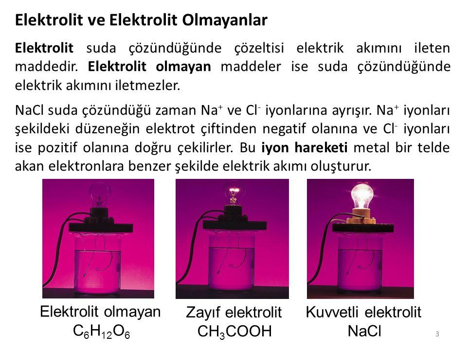 33 Elektrolit ve Elektrolit Olmayanlar Elektrolit suda çözündüğünde çözeltisi elektrik akımını ileten maddedir. Elektrolit olmayan maddeler ise suda ç