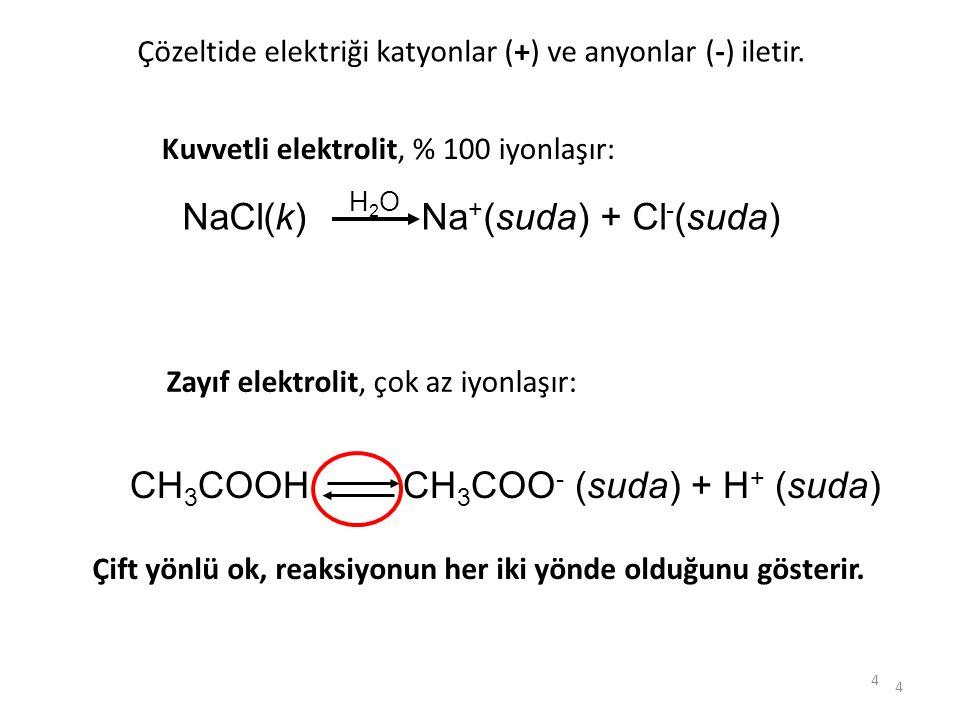 4 4 Kuvvetli elektrolit, % 100 iyonlaşır: NaCl(k) Na + (suda) + Cl - (suda) H2OH2O Zayıf elektrolit, çok az iyonlaşır: Çözeltide elektriği katyonlar (