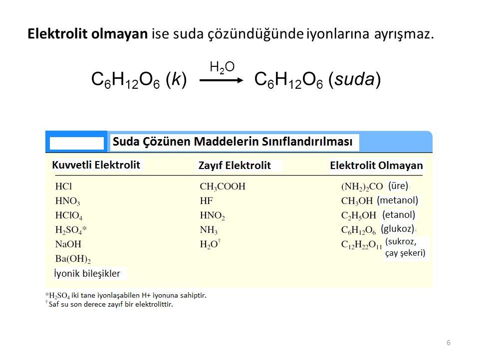 6 Elektrolit olmayan ise suda çözündüğünde iyonlarına ayrışmaz. C 6 H 12 O 6 (k) C 6 H 12 O 6 (suda) H2OH2O