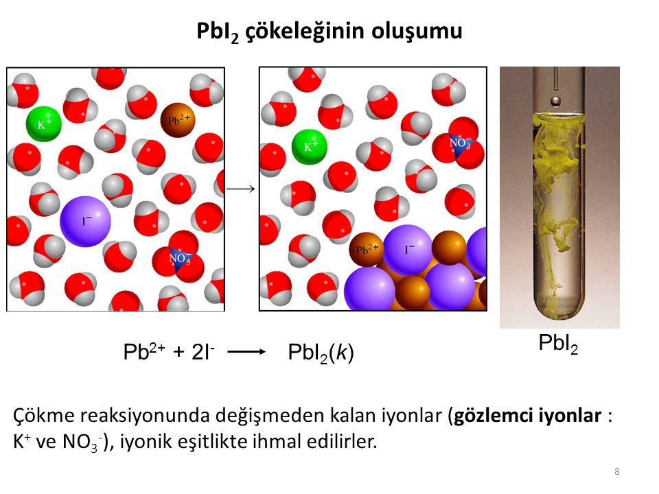 8 PbI 2 çökeleğinin oluşumu Pb 2+ + 2I - PbI 2 (k) PbI 2 Çökme reaksiyonunda değişmeden kalan iyonlar (gözlemci iyonlar : K + ve NO 3 - ), iyonik eşit
