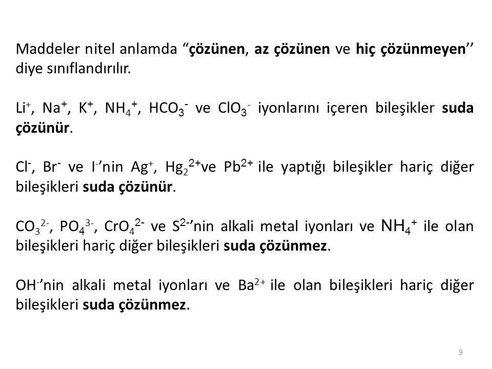 """9 Maddeler nitel anlamda """"çözünen, az çözünen ve hiç çözünmeyen'' diye sınıflandırılır. Li +, Na +, K +, NH 4 +, HCO 3 - ve ClO 3 - iyonlarını içeren"""