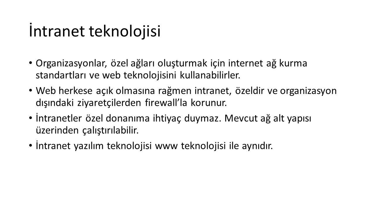 İntranet teknolojisi Organizasyonlar, özel ağları oluşturmak için internet ağ kurma standartları ve web teknolojisini kullanabilirler.