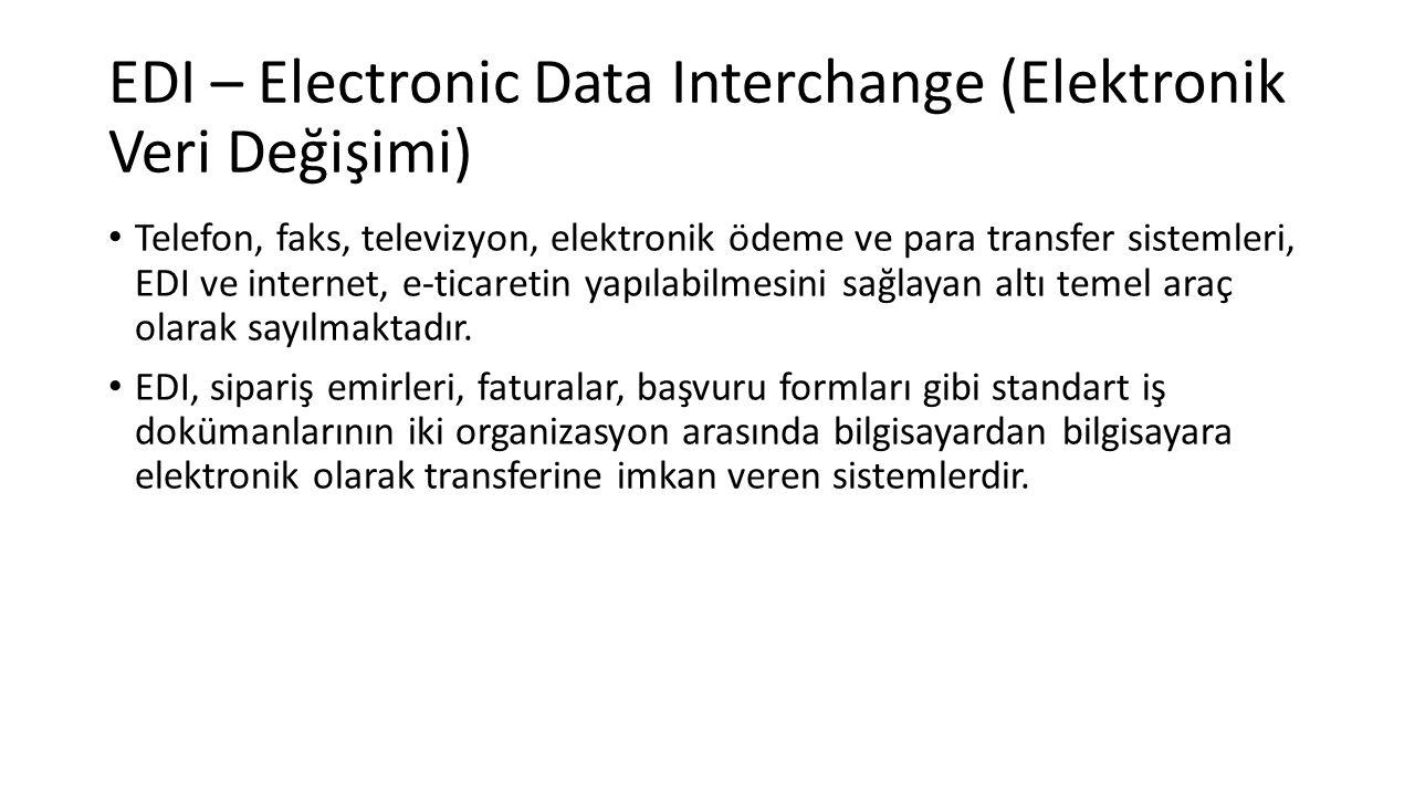EDI – Electronic Data Interchange (Elektronik Veri Değişimi) Telefon, faks, televizyon, elektronik ödeme ve para transfer sistemleri, EDI ve internet, e-ticaretin yapılabilmesini sağlayan altı temel araç olarak sayılmaktadır.