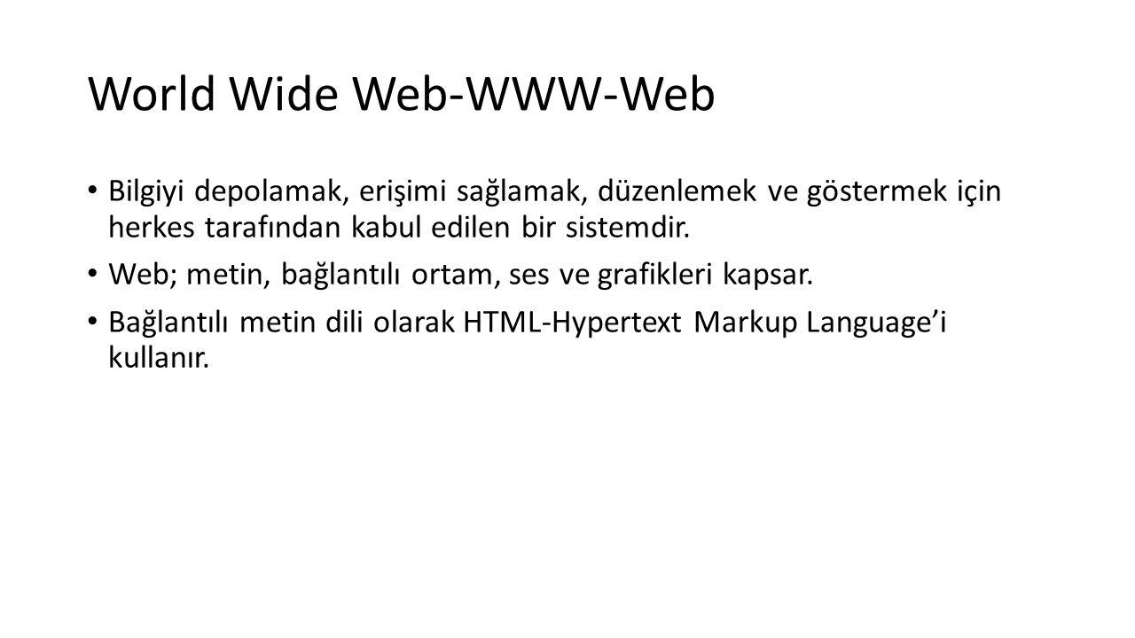 World Wide Web-WWW-Web Bilgiyi depolamak, erişimi sağlamak, düzenlemek ve göstermek için herkes tarafından kabul edilen bir sistemdir. Web; metin, bağ