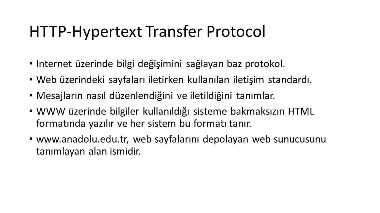 HTTP-Hypertext Transfer Protocol Internet üzerinde bilgi değişimini sağlayan baz protokol. Web üzerindeki sayfaları iletirken kullanılan iletişim stan