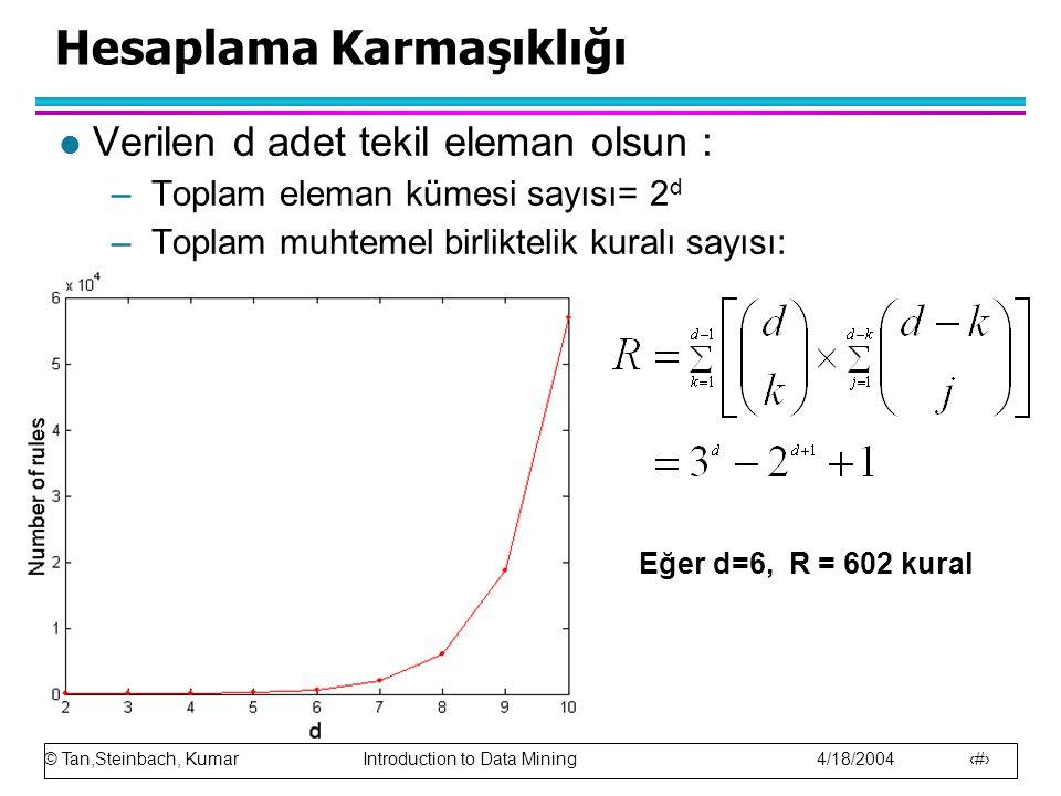 © Tan,Steinbach, Kumar Introduction to Data Mining 4/18/2004 10 Hesaplama Karmaşıklığı l Verilen d adet tekil eleman olsun : –Toplam eleman kümesi say