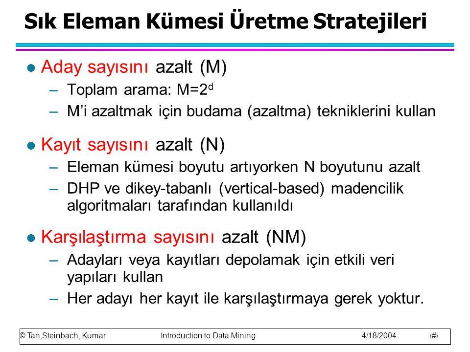 © Tan,Steinbach, Kumar Introduction to Data Mining 4/18/2004 11 Sık Eleman Kümesi Üretme Stratejileri l Aday sayısını azalt (M) –Toplam arama: M=2 d –