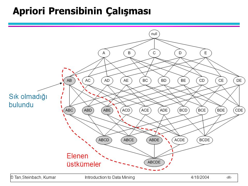 © Tan,Steinbach, Kumar Introduction to Data Mining 4/18/2004 13 Sık olmadığı bulundu Apriori Prensibinin Çalışması Elenen üstkümeler