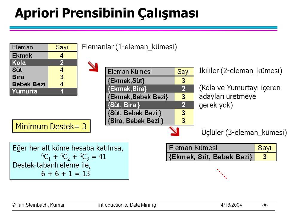 © Tan,Steinbach, Kumar Introduction to Data Mining 4/18/2004 14 Apriori Prensibinin Çalışması Elemanlar (1-eleman_kümesi) İkililer (2-eleman_kümesi) (