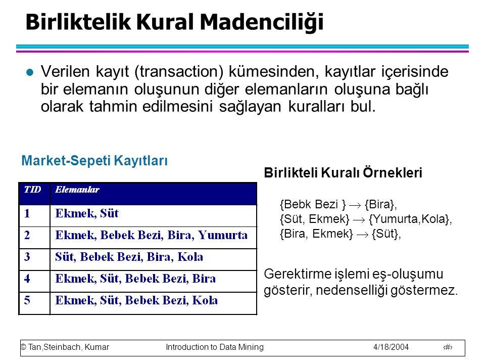 © Tan,Steinbach, Kumar Introduction to Data Mining 4/18/2004 2 Birliktelik Kural Madenciliği l Verilen kayıt (transaction) kümesinden, kayıtlar içeris