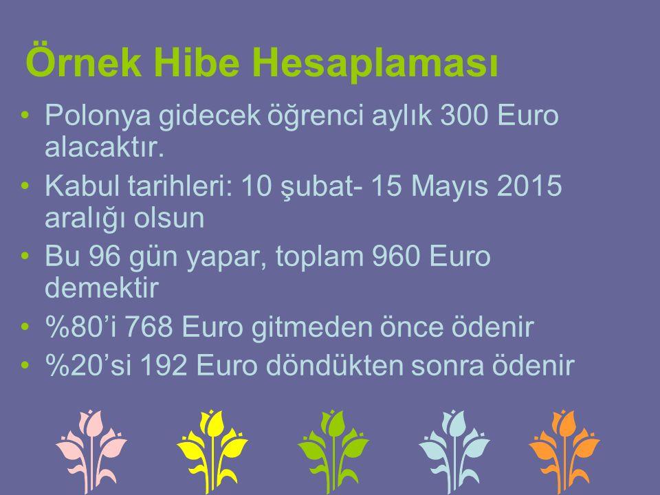 Örnek Hibe Hesaplaması Polonya gidecek öğrenci aylık 300 Euro alacaktır.
