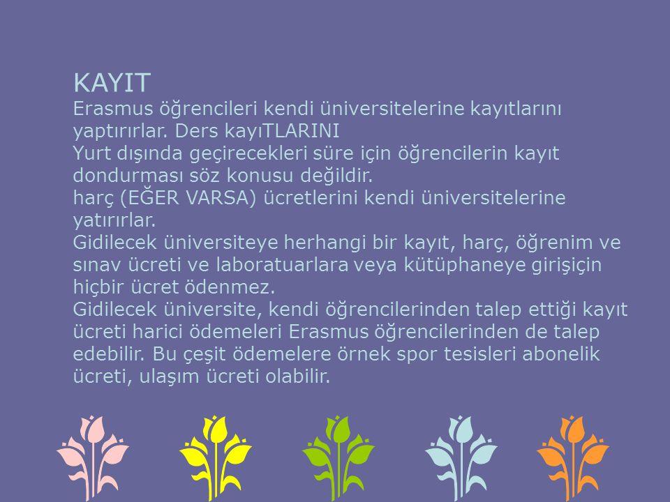 KAYIT Erasmus öğrencileri kendi üniversitelerine kayıtlarını yaptırırlar.