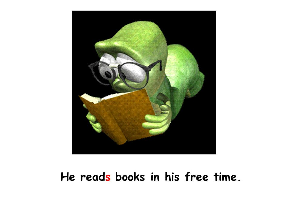 He reads books in his free time.