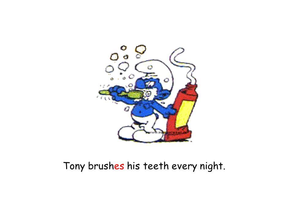 Tony brushes his teeth every night.