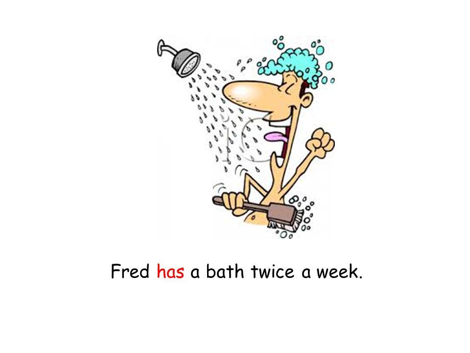 Fred has a bath twice a week.