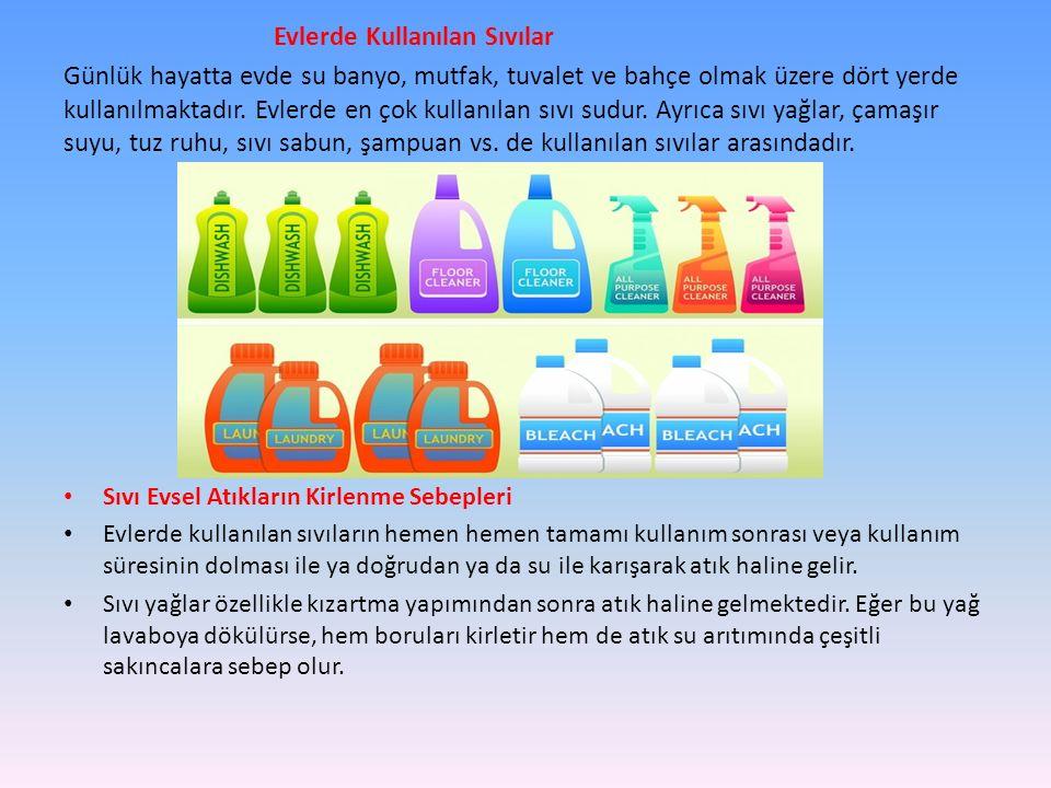 Evlerde Kullanılan Sıvılar Günlük hayatta evde su banyo, mutfak, tuvalet ve bahçe olmak üzere dört yerde kullanılmaktadır. Evlerde en çok kullanılan s