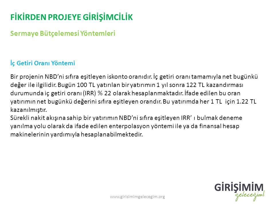 FİKİRDEN PROJEYE GİRİŞİMCİLİK Sermaye Bütçelemesi Yöntemleri www.girisimimgelecegim.org İç Getiri Oranı Yöntemi Bir projenin NBD'ni sıfıra eşitleyen iskonto oranıdır.