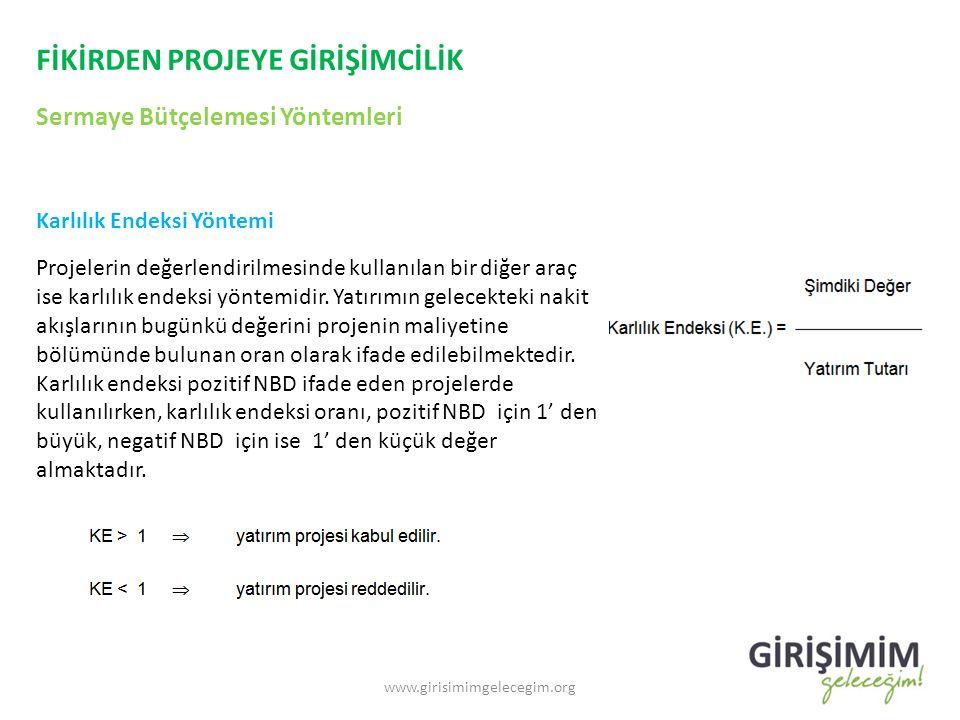 FİKİRDEN PROJEYE GİRİŞİMCİLİK Sermaye Bütçelemesi Yöntemleri www.girisimimgelecegim.org Karlılık Endeksi Yöntemi Projelerin değerlendirilmesinde kulla