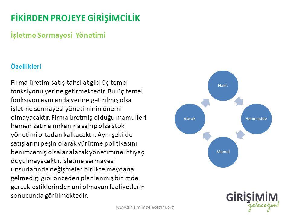 FİKİRDEN PROJEYE GİRİŞİMCİLİK İşletme Sermayesi Yönetimi www.girisimimgelecegim.org Özellikleri Firma üretim-satış-tahsilat gibi üç temel fonksiyonu y
