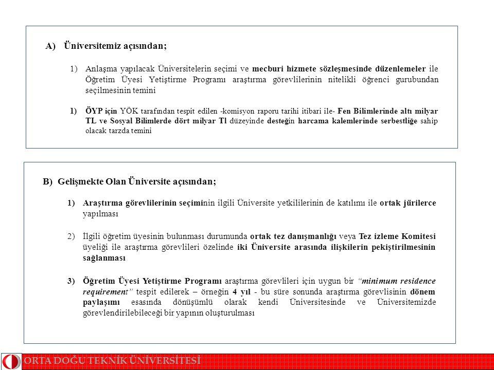 C) Araştırma Görevlisi açısından ; 1)Mecburi hizmet sözleşmesinin - gerekirse Üniversitemiz tarafından hazırlanacak bir örnek sözleşmenin kullanımının teşviki ile- 1:1 kuralı muhafaza etmek kaydı ile araştırma görevlileri açısından caydırıcı olmaktan uzaklaştırılması 2) Minimum Residence Requirement i sağlayan araştırma görevlilerinin dönem paylaşımı esasında kendi Üniversitelerinde ve Üniversitemizde geçireceği sürenin mecburi hizmet süresine dahil edilmemesi 3)ÖYP araştırma görevlilerinin mevcut lisansüstü yönetmeliğimizin esneklikleri kullanılarak 1 senelik Bilimsel hazırlık programına kabulleri esas olmalı ve Üniversitemize psikolojik baskıdan uzak hızlı uyumları temin edilmesi.