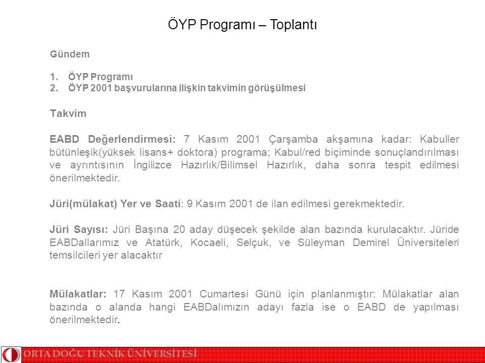 ÖYP Programı – Toplantı Gündem 1. ÖYP Programı 2.