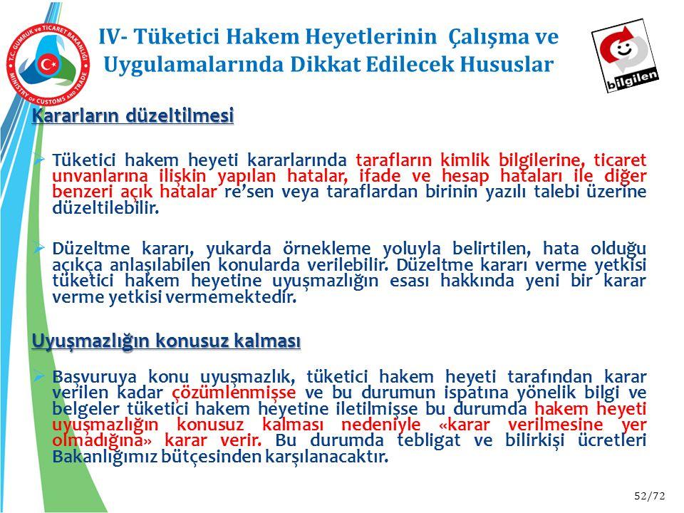52/72 IV- Tüketici Hakem Heyetlerinin Çalışma ve Uygulamalarında Dikkat Edilecek Hususlar Kararların düzeltilmesi  Tüketici hakem heyeti kararlarında
