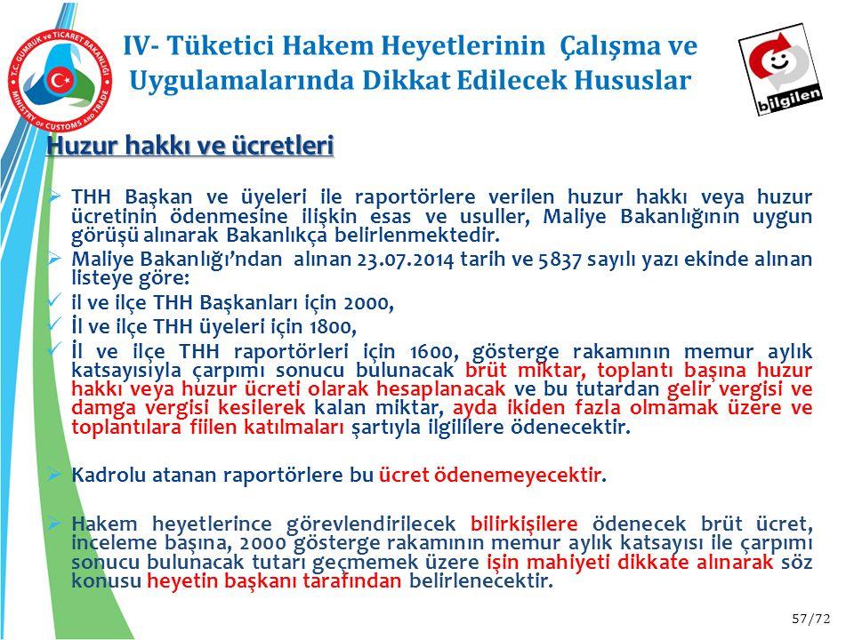 57/72 IV- Tüketici Hakem Heyetlerinin Çalışma ve Uygulamalarında Dikkat Edilecek Hususlar Huzur hakkı ve ücretleri  THH Başkan ve üyeleri ile raportö