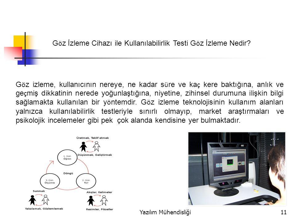 Yazılım Mühendisliği11 G ö z izleme, kullanıcının nereye, ne kadar s ü re ve ka ç kere baktığına, anlık ve ge ç miş dikkatinin nerede yoğunlaştığına, niyetine, zihinsel durumuna ilişkin bilgi sağlamakta kullanılan bir y ö ntemdir.