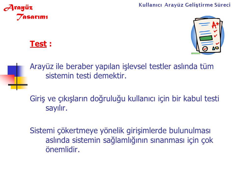 Yazılım Mühendisliği47 Test : Arayüz ile beraber yapılan işlevsel testler aslında tüm sistemin testi demektir.