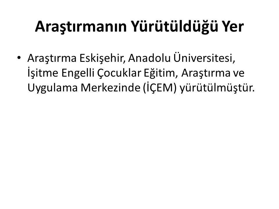 Araştırmanın Yürütüldüğü Yer Araştırma Eskişehir, Anadolu Üniversitesi, İşitme Engelli Çocuklar Eğitim, Araştırma ve Uygulama Merkezinde (İÇEM) yürütülmüştür.