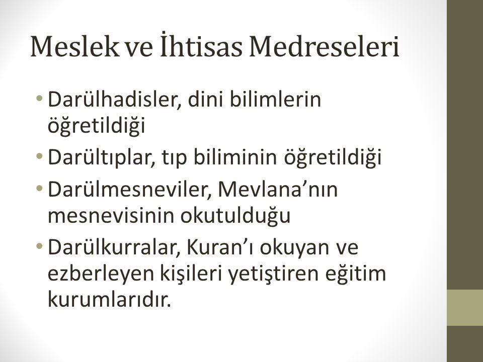 Meslek ve İhtisas Medreseleri Darülhadisler, dini bilimlerin öğretildiği Darültıplar, tıp biliminin öğretildiği Darülmesneviler, Mevlana'nın mesnevisi