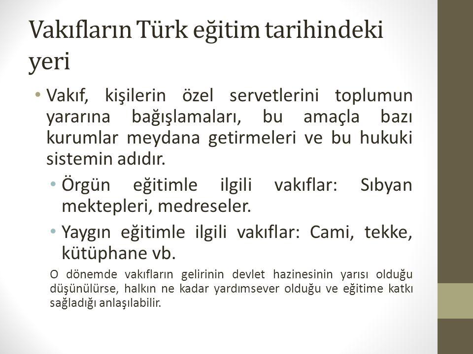 Vakıfların Türk eğitim tarihindeki yeri Vakıf, kişilerin özel servetlerini toplumun yararına bağışlamaları, bu amaçla bazı kurumlar meydana getirmeler